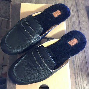 Ugg Shaine Black Leather Mules
